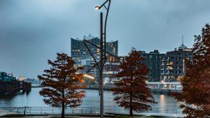 HafenCity in der Dämmerung