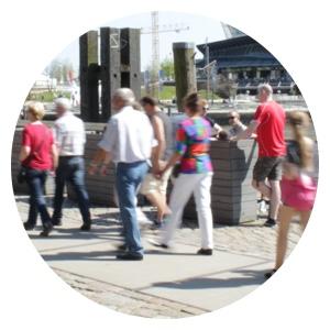 Besucher in der HafenCity